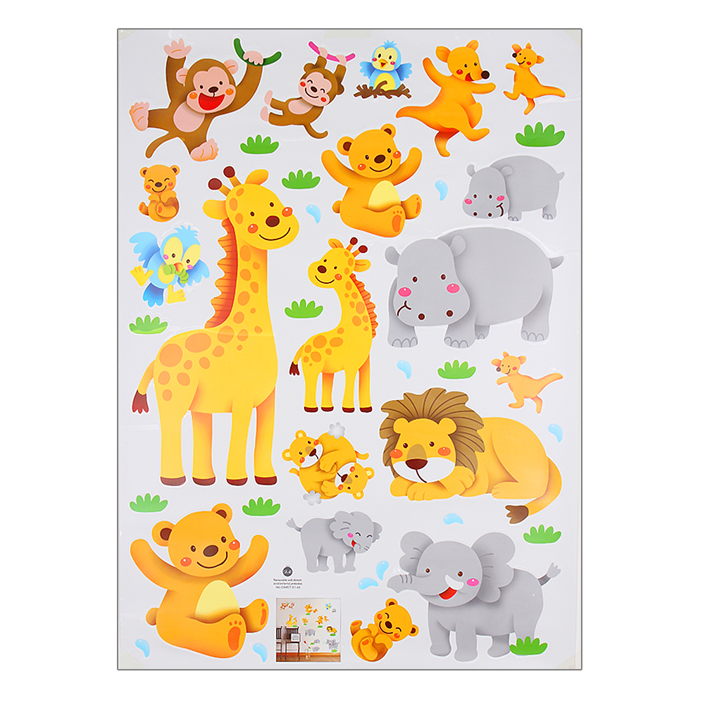 Cartoon Jungle Wild Animals Wall Sticker Removable PVC Decal Giraffe ...