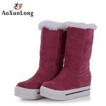 2017 New Suede Height Increase Snow Boots For Women Wedge Winter Shoes Lined Fur Large Girls Ankle Winter Flat Boots Black 34-43
