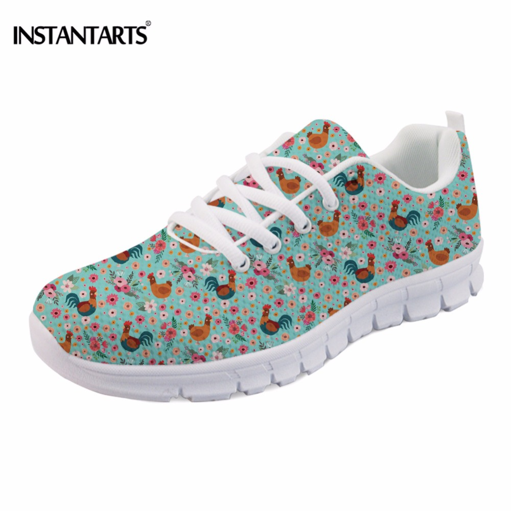 INSTANTARTS Funny Bohemian Rooster/Chicken Print Women Flats Shoes Fashion Female Spring Flats Sneakers Casual Mesh Flats Shoes instantarts cute animal husky cat head print women fashion flats shoes air mesh sneakers for ladies lace up light weight shoes