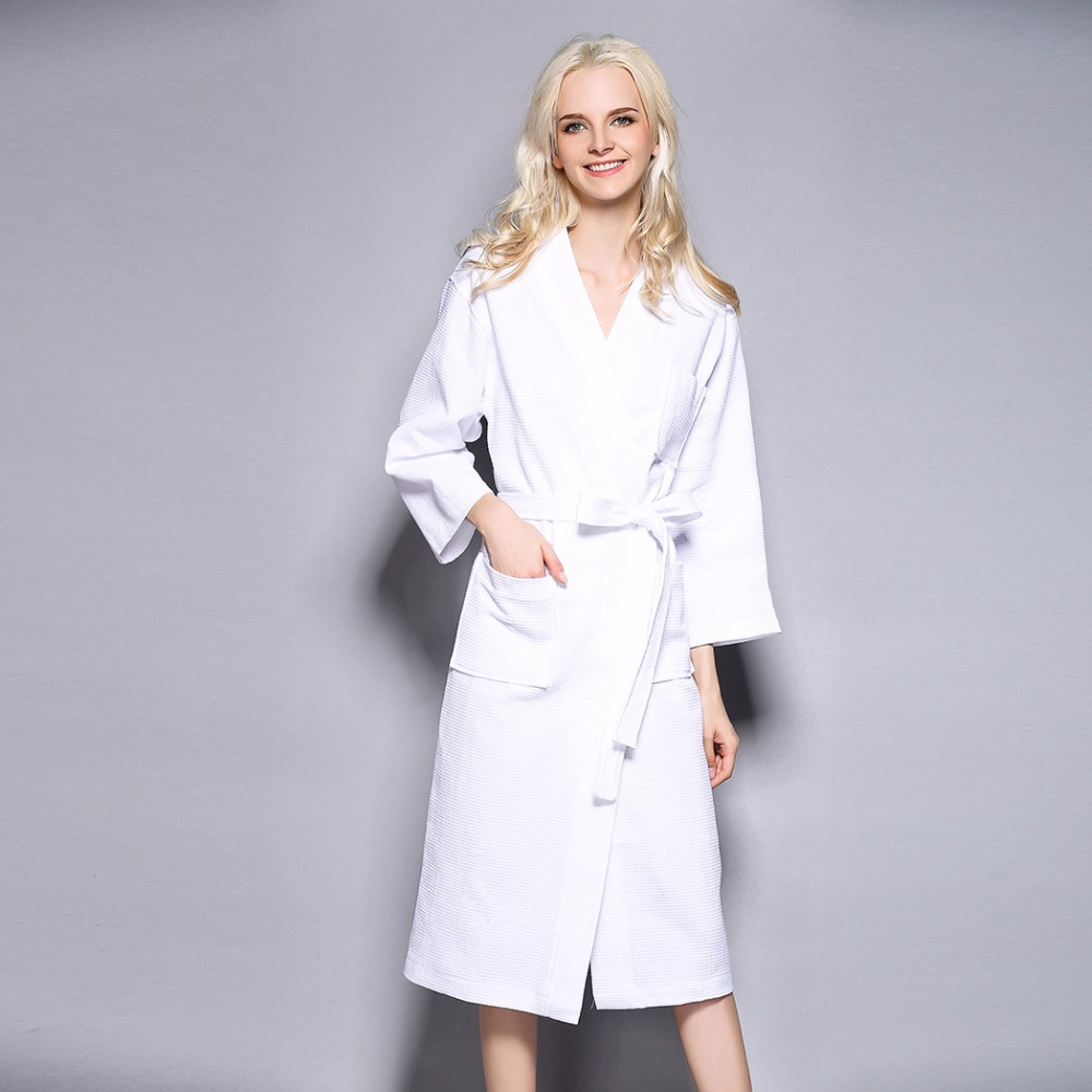 Kimono Cotton Robe Sexy Bridesmaid Waffle Long Bathrobe Women Solid Belted  Dressing Gown Bathroom Spa Hotel Large Sleep Clothes-in Robes from  Underwear ... 0d01f1584