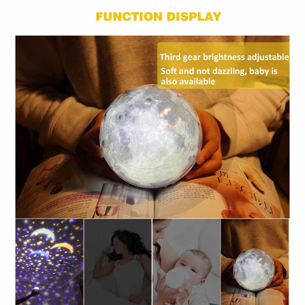 LED Night Light USB Rechargeable Starry Sky Star Moon Planet Cosmos Projector Lamp Kid Birthday Gift ALI88
