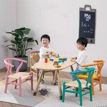 Детский обеденный стул из цельного дерева, стул(кабинетный), стол, письменный стул, задний домашний студенческий коррекционный сиденье, нескользящий стул