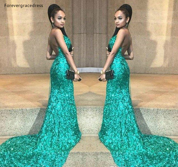 2019 Cheap Green Sequined Prom Dress Mermaid Backless Pageant Holidays Wear Graduation Evening Party Gown Custom Made Plus Size