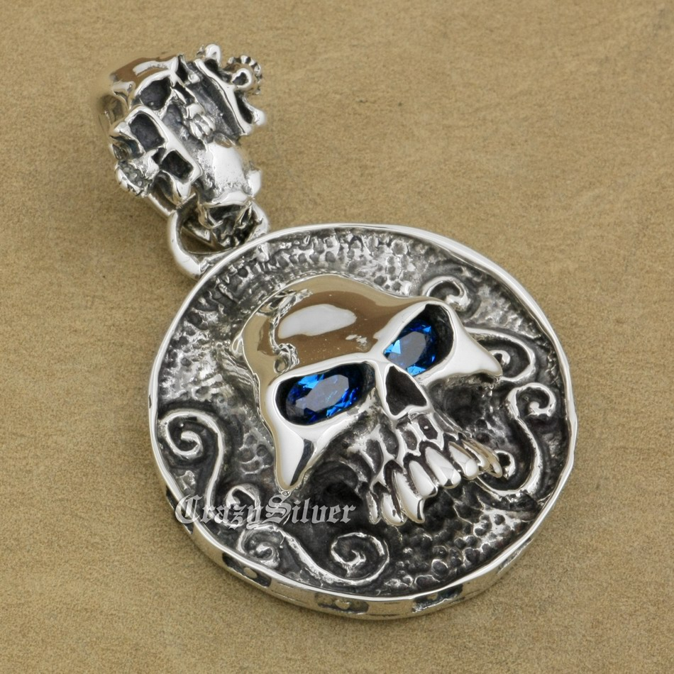 Huge 925 Sterling Silver CZ Eyes Skull Mens Biker Rocker Punk Pendant 8C105 Just Pendant 925 sterling silver crescent moon skull mens biker rocker punk pendant 9v010 free shipping