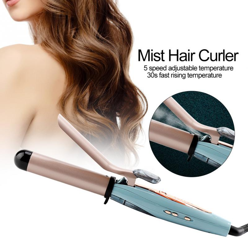 Hair Rollers Automatic Cool Mist Steam Hair Curler Ceramic Tourmaline Hair Curling Wand Iron for Hair Styling Tools with Glove ushow pro steam hair curler automatic tourmaline ceramic hair curling iron rollers electric magic curling irons wand