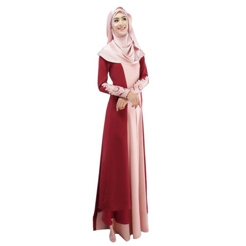 Ladies Noble Muslim Dress Abaya Color Contract Chiffon Abaya Elegant Islamic Maxi Dresses