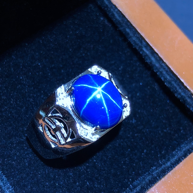 Starlight Sapphire Ring, Classic 925 Pure Silver Star Line Beautiful Mail PackingStarlight Sapphire Ring, Classic 925 Pure Silver Star Line Beautiful Mail Packing