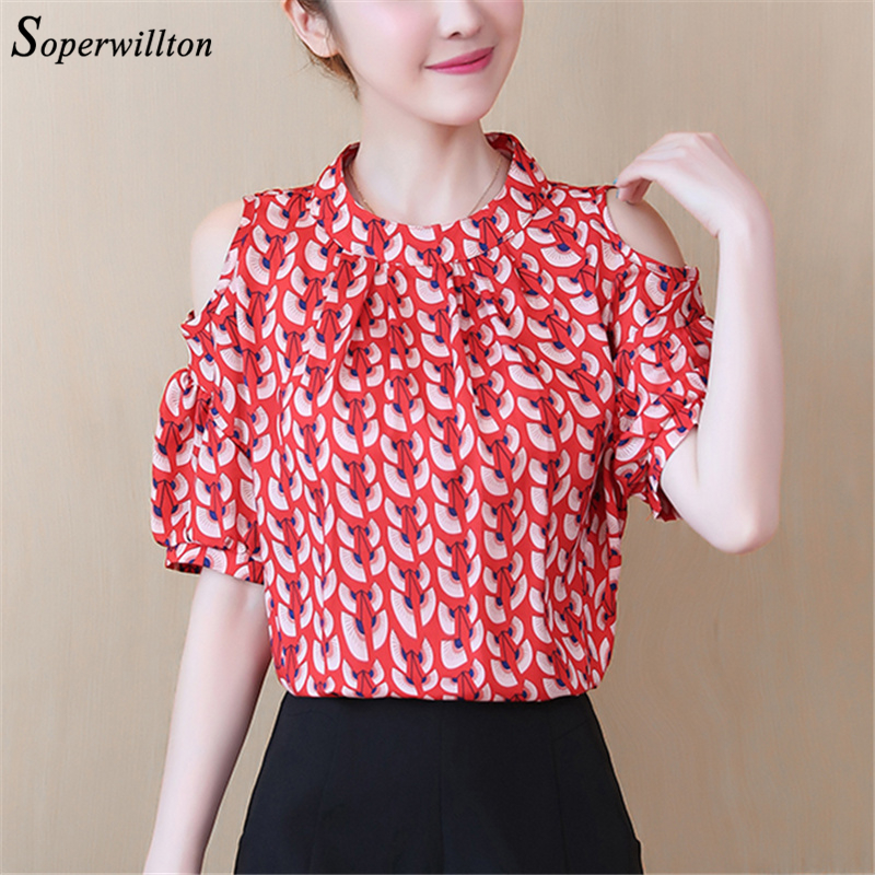 Half Sleeve Summer Off Shuolder Chiffon Blouses Women Print flower Blouse Womes Shirts Tops blusas feminina #CS2