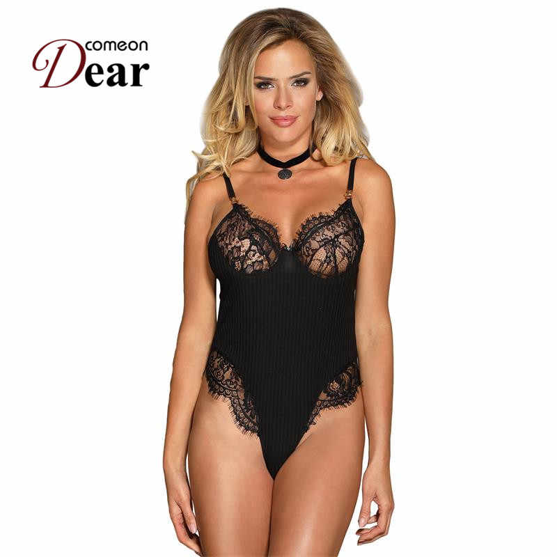 a243b2be7669 Comeondear Lace Bodysuit Sexy Bodycon Jumpsuits Rompers Sleeveless Black  Body Femme Short Naughty Overalls Women Big