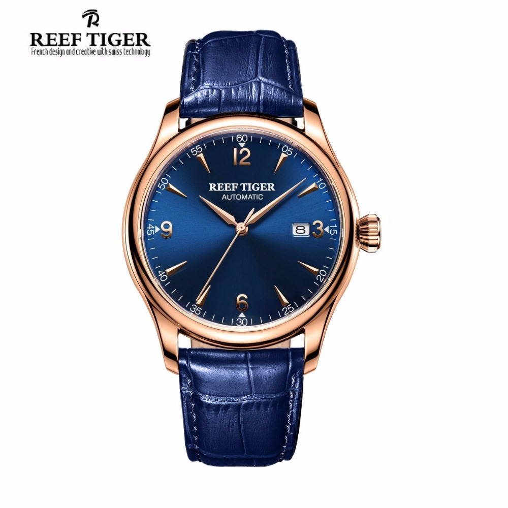 Reef Tiger/RT Classic Dress Mens Watch with Date Rose Gold Automatic All Blue Wrist Watch RGA823G cameron ann tiger tells all