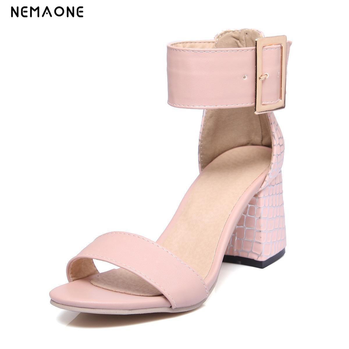 NEMAONE 2019 New elegant women shoes high heels sandals women summer shoes woman sexy ankle strap ladies shoes white pink blue nemaone new flat women slippers suede leather sandals woman summer style pearl beath women shoes black apricot pink green