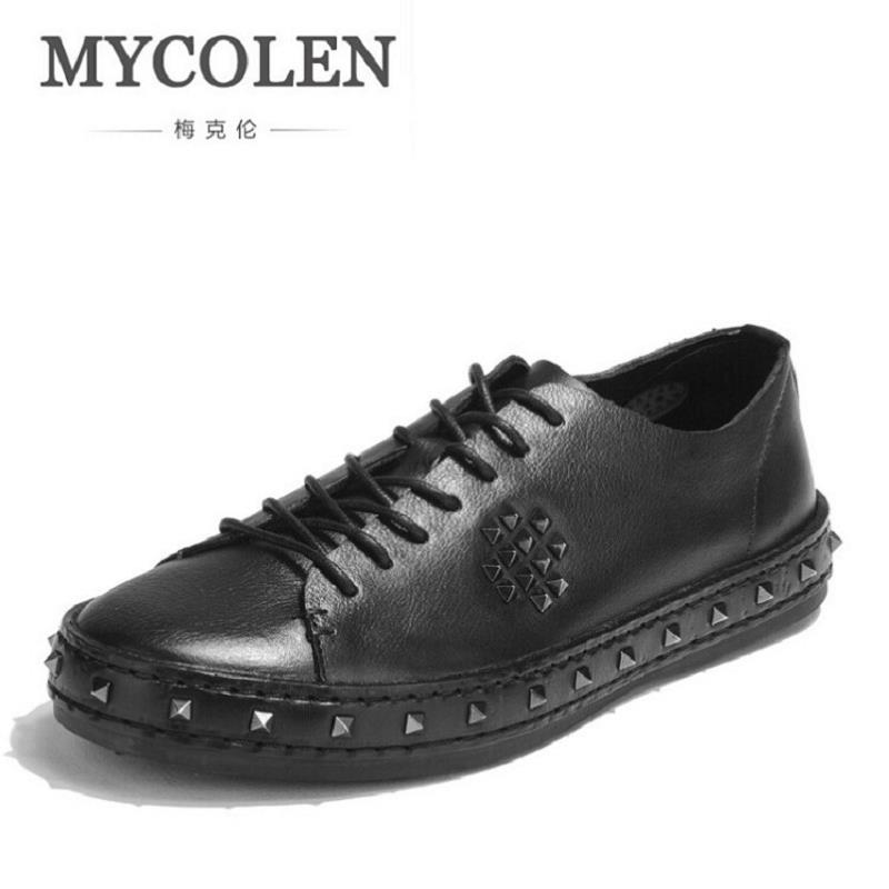 MYCOLEN Vintage Classic Rivet Genuine Leather Men Casual Shoes Luxury Fashion Male Shoes Designer Breathable Footwear schuhe blaibilton men casual shoes luxury brand genuine leather flat fashion designer breathable mens shoes casual male footwear sd6219