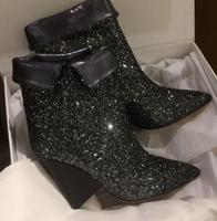 New Arrivals Bling Dark Silver Glitter Women Ankle Boots Sexy Pointy Toe Ladies Finger Heel Boots Slip On Fashion Fold Boots