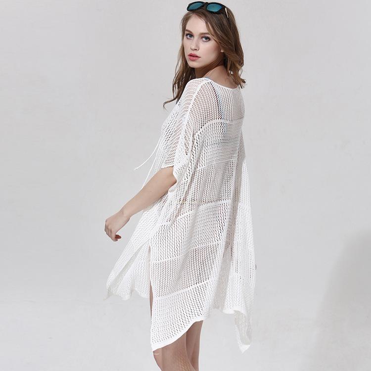 17 New Knitted Crochet Beach Tunic Bandage Bikini Cover-Ups Sexy Swimwear Cover up Women Beach Dress 6