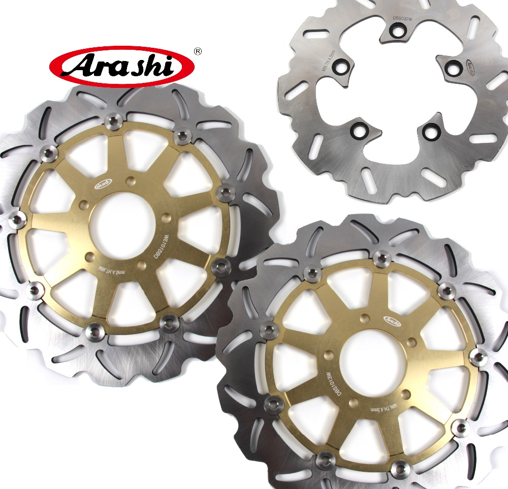Gold Front Rear Brake Rotors Discs Pads For Suzuki GSXR1000 GSX-R 1000 2005 2006