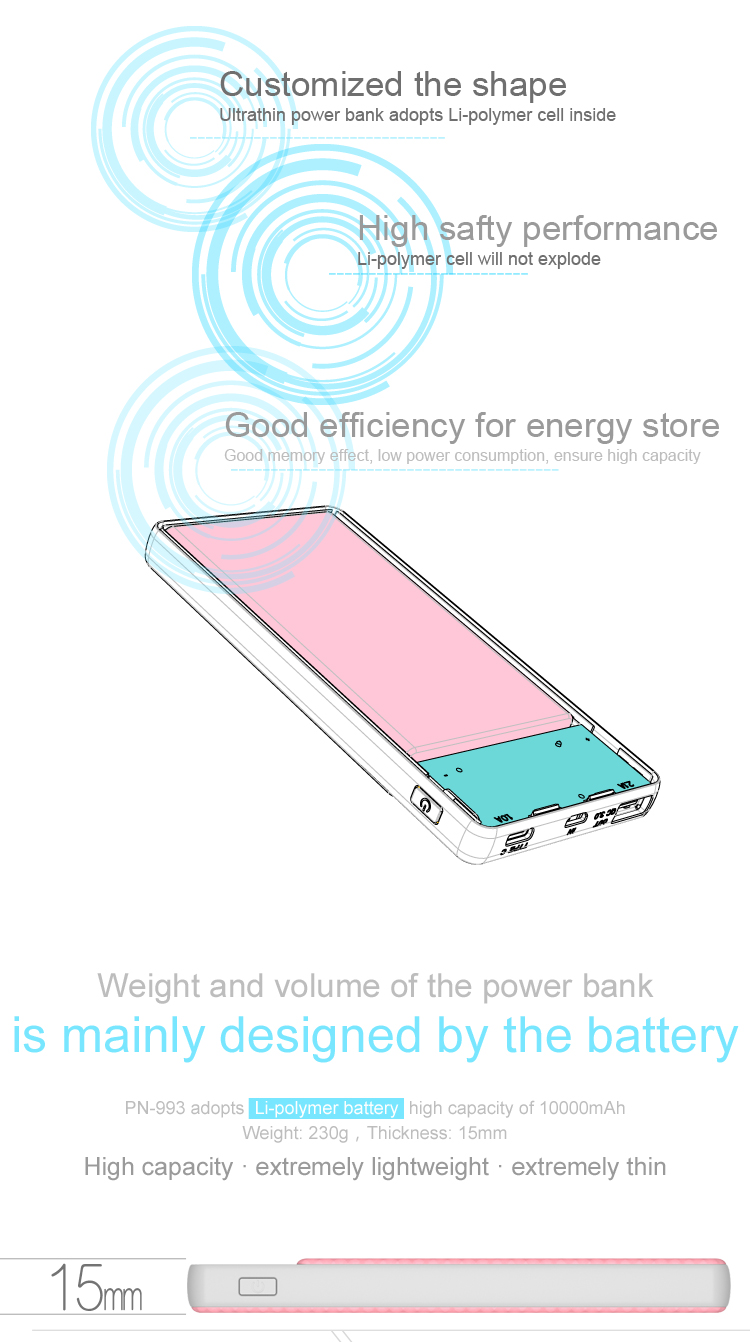 PINENG 10000mah Two-way Fast Charge Power Bank PN 993 QC3.0 Portable Battery Li-Polymer Type-c port For iphone6s Mi Huawei Meizu 18