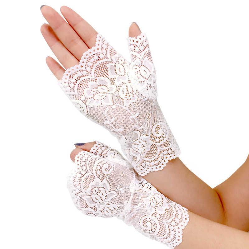2019 女性の新しい夏太陽 UV 保護ショートレース手袋レディースハーフフィンガー駆動手袋フォーマル手袋黒、白カーキ赤