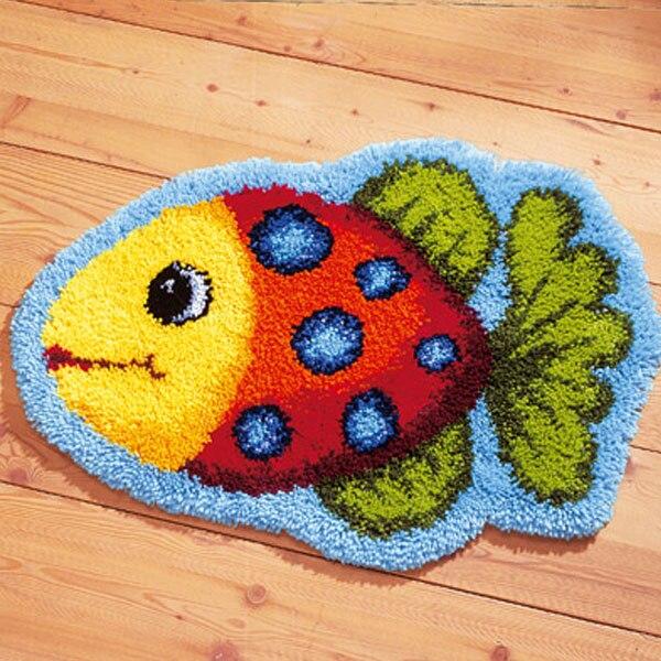ჱjcs Couleur Poissons De Mode Crochet Tapis Kit Diy Mat Needlework
