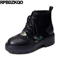 Floral Print Brogue Military British Black Platform Chunky Brand Women Winter Boots Genuine Leather Fur Shoes