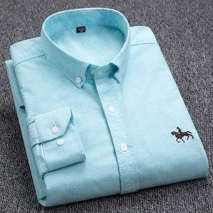 Image 5 - בתוספת גודל 4XL 100% כותנה גברים של אוקספורד מקרית חולצת כפתורים ארוך שרוולים מוצק איש עסקים באיכות גבוהה חכם מזדמן חולצה