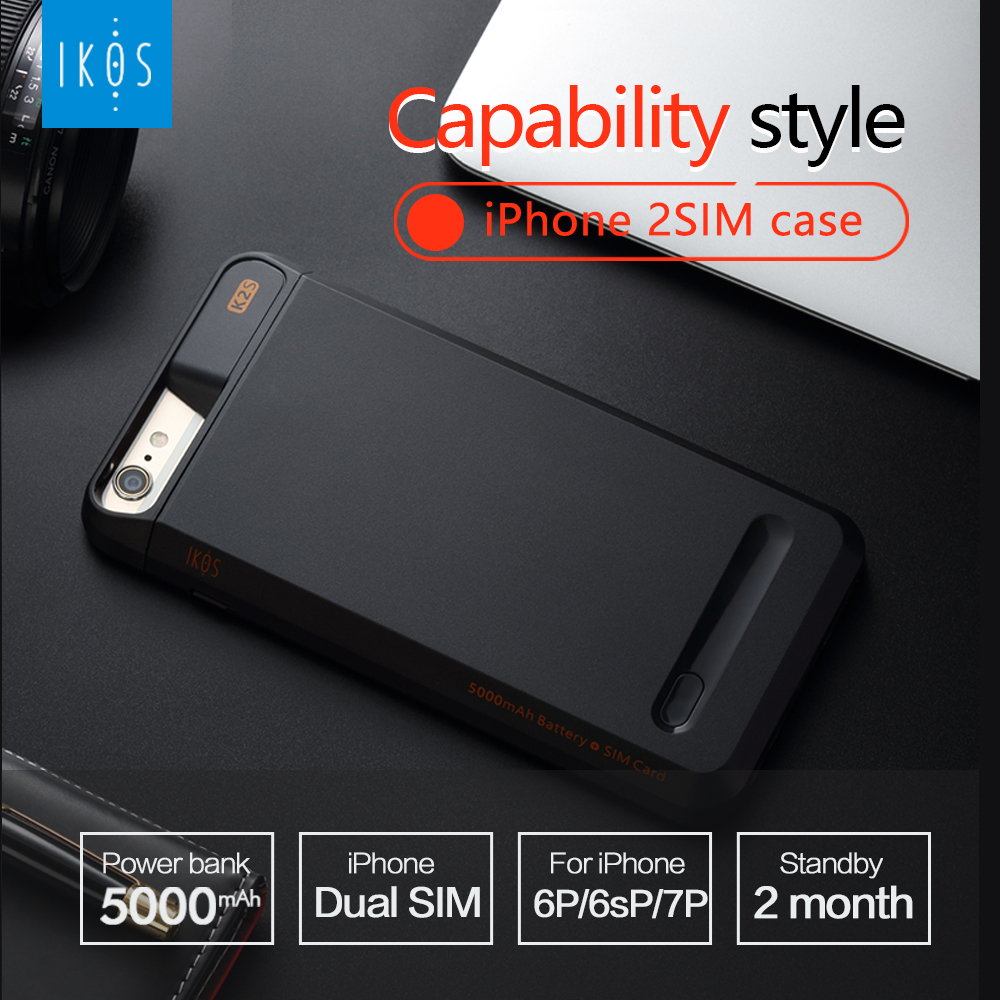 <font><b>Dual</b></font> <font><b>SIM</b></font> <font><b>Dual</b></font> Standby Phone case Adapter+2000/5000mAh Power Bank Smart Protect Case for For <font><b>iPhone</b></font> 6(s)/6P/7/7P/<font><b>8</b></font>/8P iKOS K2S image