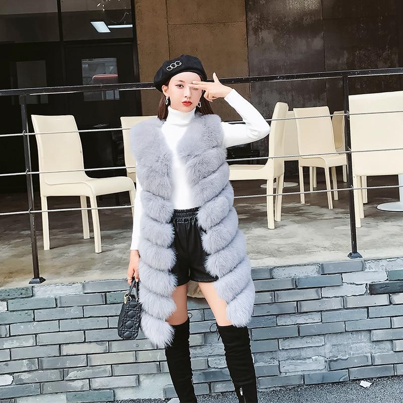 Gray Green blue Longue Hiver pink Gray Femmes Vêtements dark Manteau light Automne 2018 Luxe Fourrure Renard Manteaux Veste Réel Beige Gilet dark Chaud D'hiver Femme Mode De Zl595 STqnx6gwF