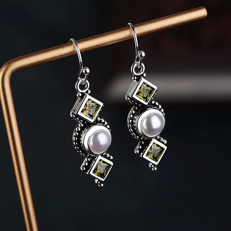 Vintage Pearl Long Earings Thai Silver Color Round Earrings For Women Accessories Square Olive Stone Green Earring Jewelry