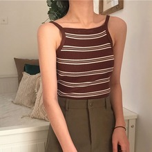 Summer Halter Knitted Woman Camisole Female Sexy Vest Tank Top Casual Backless Striped Camis