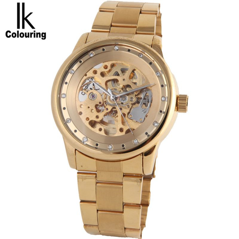IK Fashion Watch Men Men's Skeleton Dial Auto Mechanical Watches Wristwatch  Gifts Box Free Ship ik luxury fashion casual stainless steel men automatic mechanical watch skeleton watch for men s dress wristwatch free ship