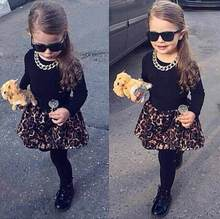 2015 Baby Kids Girls clothes 2pcs long sleeve Black Tops Shirt+Skirt With Leggings Outfits 2-7Y