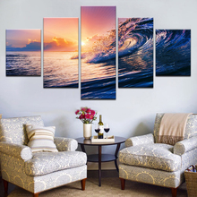 Canvas Sunset Sea Waves Seascape Paintings Ocean Beach Posters HD Printed Home Decorative 5 Pieces Wall Art Modular Pictures seaside sunset sandbeach printed split unframed canvas paintings