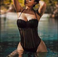 Top Quality Black Sexy Hollow Out Swimsuit Striped Fashion Halter Bodycon Bodysuits Bandage Women Bodycuits