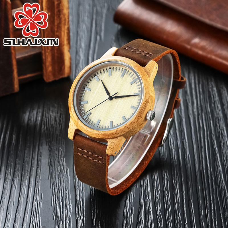 SIHAIXIN Bambusové dřevěné hodinky pro ženy Muži Real kůže - Dámské hodinky