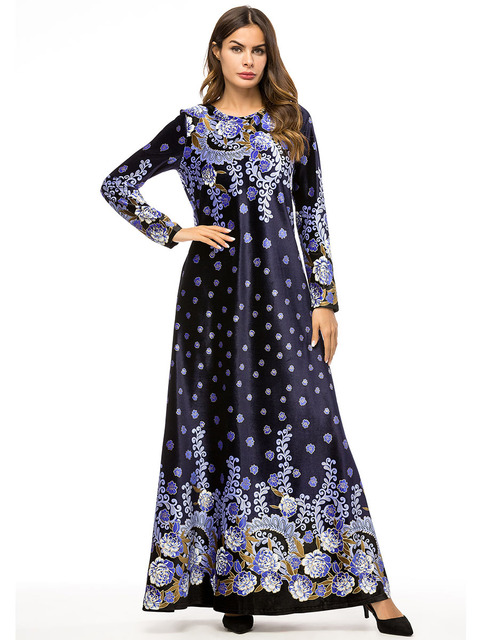 631ccd65176a0 Muslim women long sleeves velvet embroidery Dubai Dress maxi abaya jalabiya  islamic women clothing robe kaftan