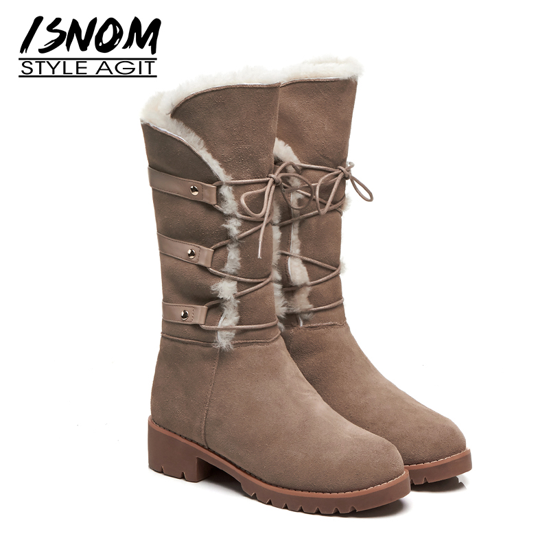 ISNOM Mid Calf Women Snow Boots Round Toe Warm Footwear Thick Heels Cross Tied Female Boot Platform Lambswool Shoes Woman Winter taoffen size 30 52 russia women round toe height increasing mid calf boots woman cross strap warm fur winter half shoes footwear