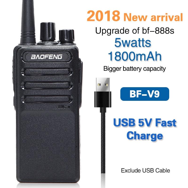 Baofeng BF-V9 2018 USB 5 v Carica Veloce Walkie Talkie 5 w UHF 400-470 mhz Two Way Radio ham Radio Portatile bf888s Aggiornamento di BF-888S