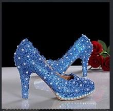 2015 neue Ankunft Elegante Blaue Spitze Perlen Hochzeit Schuhe frauen High Heels Plateau Pumps Braut Abendgesellschaft Kleid Schuhe