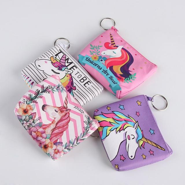Cute Kids Girl Unicorn Coin Purse Pocket Women Small Zero Pouch For Card Holders Key Case Zipper Bag Change Wallet Money Bag
