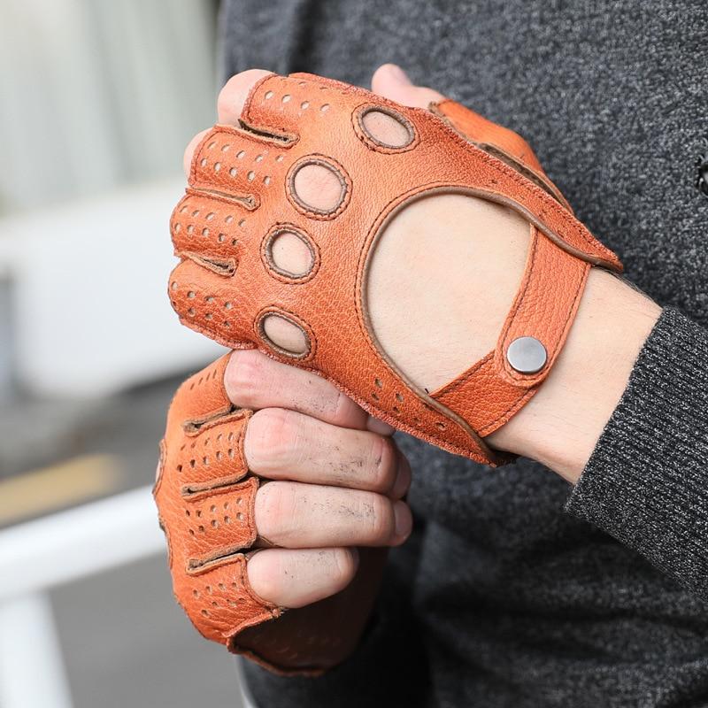 Nouveau gant d'automne et d'hiver gants demi-doigt pour hommes en cuir rétro gant mâle Harley gants en cuir moto