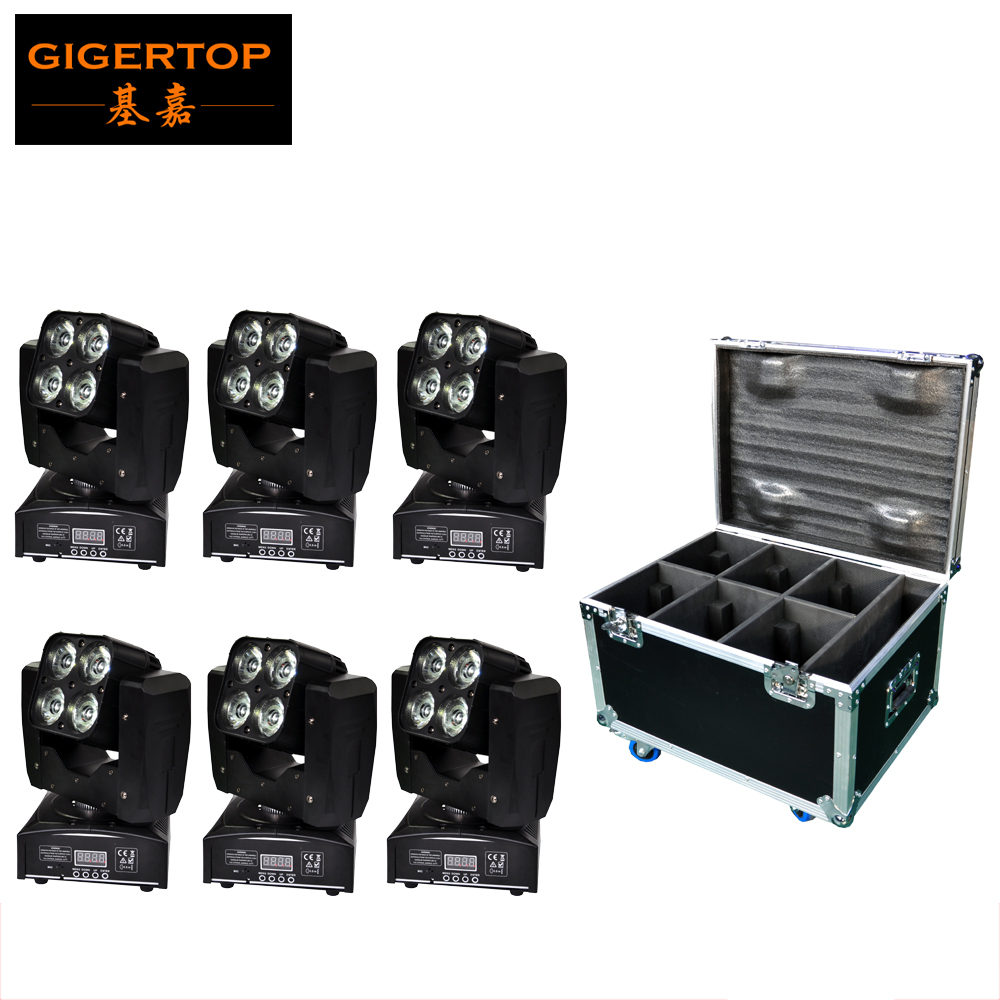 Freeshipping 6IN1 Flightcase Pack Mini 4x15W Led Moving Head Beam Light 3 Pin XLR Connector IN/OUT with Mounting Hook and Screws