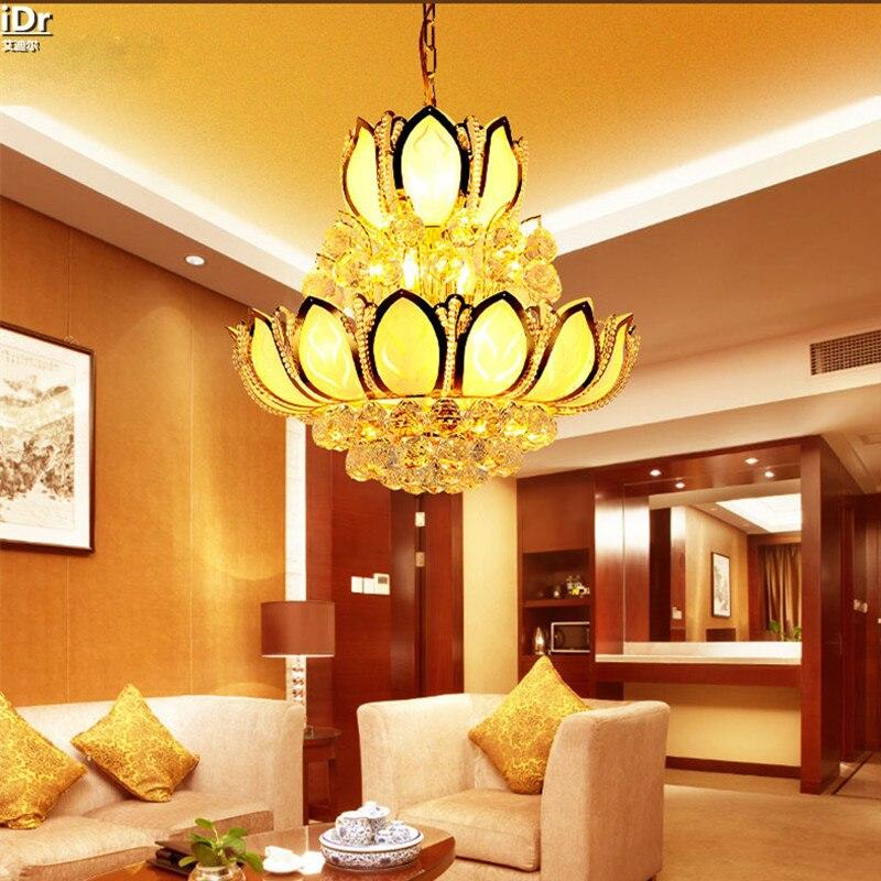 Goldenen Lotus Kronleuchter Kristall Lampe Lampen Penthouse Etage Wohnzimmer Tradition Scheinwerfer Lmy 003