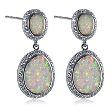 White Fire Opal 925 Sterling Silver Fashion Earrings P298