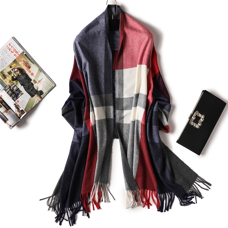 2018 brand women   scarf   winter cashmere   scarves   for lady warm pashmina shawls and   wraps   striped thick female neck echarpe