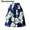 Z&KOZE 2016 Vintage Elegant Ball Gown Audrey Hepburn Style Women Empire Knee-Length tutu Skirt Yellow flower Pleated Skirts