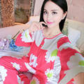 Venta caliente de Manga Larga Dama Conjunto Pijama de Algodón Pijamas Mujeres Pijama Femenino Estampado floral ropa de Dormir Homewear