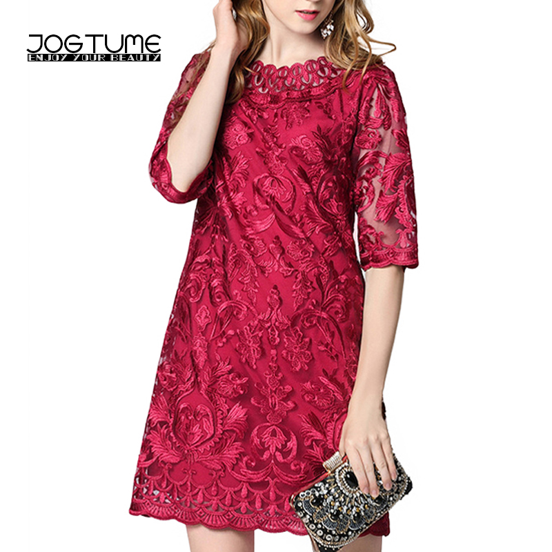 JOGTUME Lace Pencil Gowns Half Sleeve Women's Fashion Summer Red Delicate Embroidery Elegant Mini Pencil Dresses High Quality