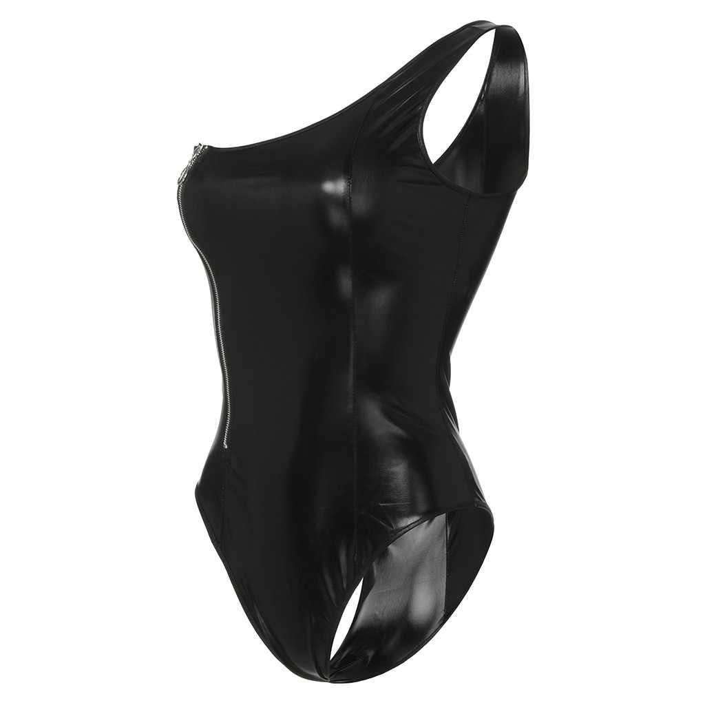 Боди Новый Для женщин сексуальный основной полиэстер черный с мокрым эффектом Костюм Тедди из искусственной кожи на молнии на одно плечо белье комбинезон 19Fer25 P35