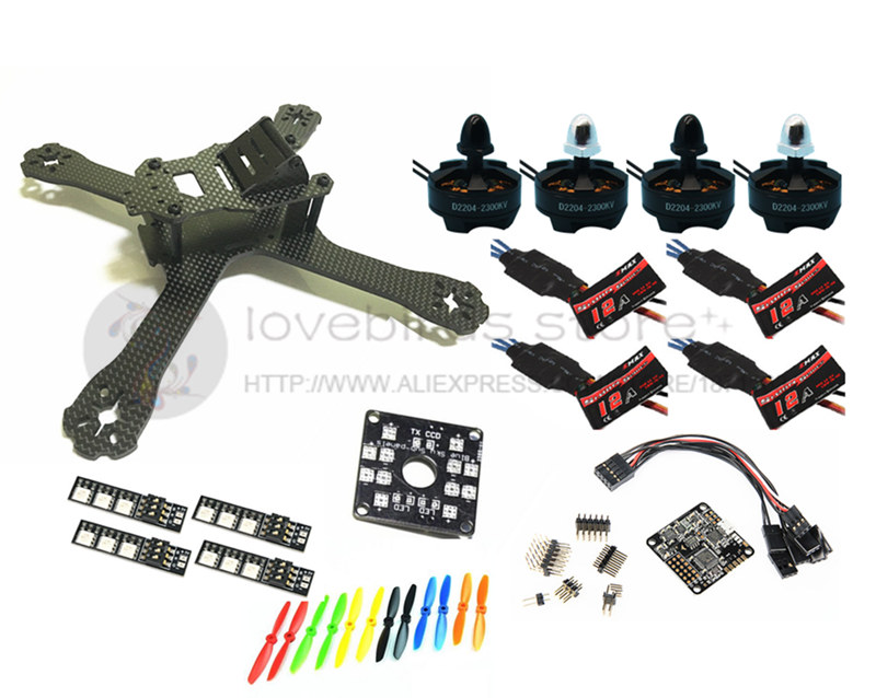DIY FPV mini drone QAV-X 5 214mm pure carbon frame kit D2204 2300KV+EMAX Simon K / BLHeli 12A ESC + NAZE32 Rev6 10DOF diy fpv alfa lsx5 230mm pure carbon frame kit for mini drone f3 acro dx2205 2300kv motor bl20a esc 5045 propeller
