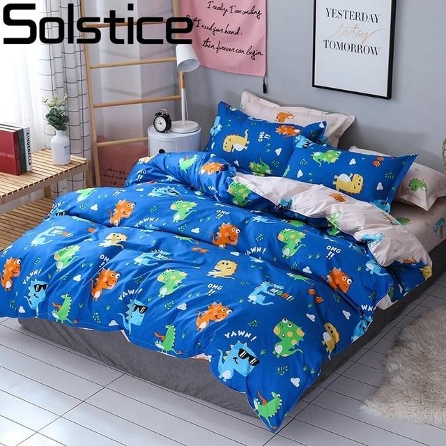 Solstice Home Textile Dinosaur Land Cartoon Blue Duvet Cover Pillowcase Flat Bed Sheet Kid Child Teen Boy Girl Bedding Linen Set
