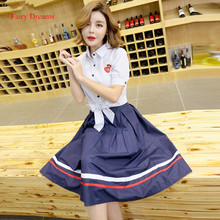 Fairy Dreams 2 Piece Set Women Crop Top And Skirt Sets Striped Shirt With Bow 2017 New Arrival Preppy Style Fashion Clothing
